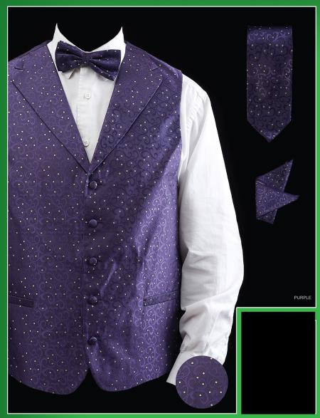 SKU#PUA9 Mens 4 Piece Vest Set (Bow Tie, Neck Tie, Hanky) - Lapelled Vest Purple