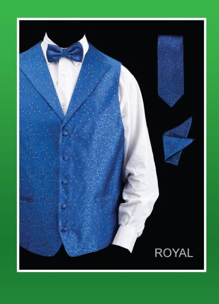 SKU#KLO93 Mens 4 Piece Vest Set (Bow Tie, Neck Tie, Hanky) - Lapelled Vest Royal Blue