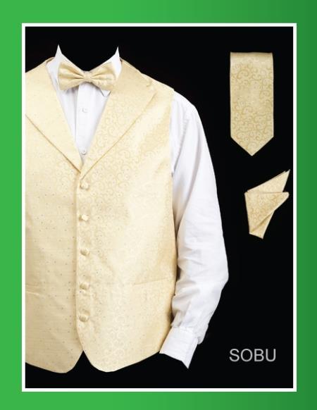 SKU#SBU24 Mens 4 Piece Vest Set (Bow Tie, Neck Tie, Hanky) - Lapelled Vest Sobu