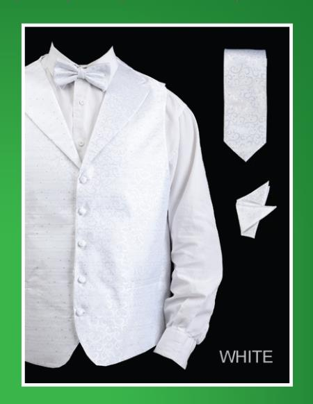 SKU#WTW22 Mens 4 Piece Vest Set (Bow Tie, Neck Tie, Hanky) - Lapelled Vest White $75