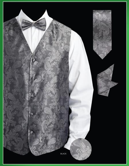 SKU#KJS9 Mens 4 Piece Vest Set (Bow Tie, Neck Tie, Hanky) - Shiny Paisley Jacquard Black