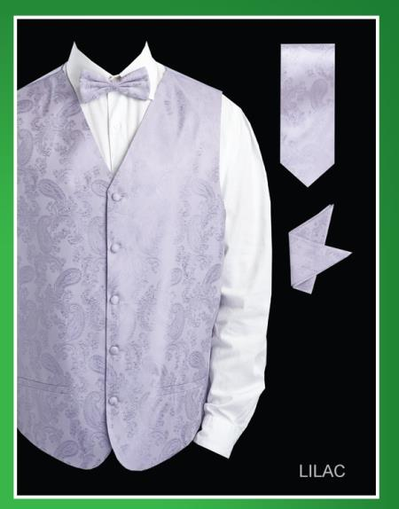 SKU#HGH82 Mens 4 Piece Vest Set (Bow Tie, Neck Tie, Hanky) - Shiny Paisley Jacquard Lilac Lavender
