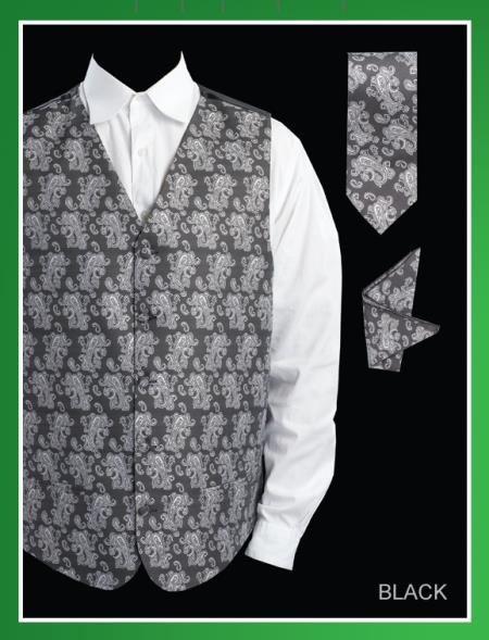 SKU#BHH92 Mens 4 Piece Vest Set (Bow Tie, Neck Tie, Hanky) - Paisley Jacquard Black $65