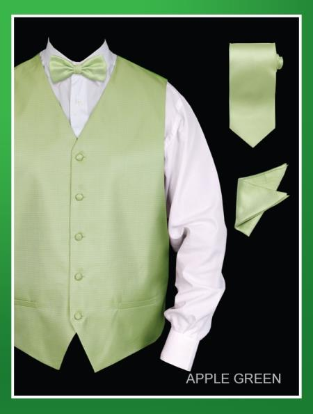 SKU#AGE99 Mens 4 Piece Vest Set (Bow Tie, Neck Tie, Hanky) - Jacquard lime mint Green ~ Apple ~ Neon Bright Green