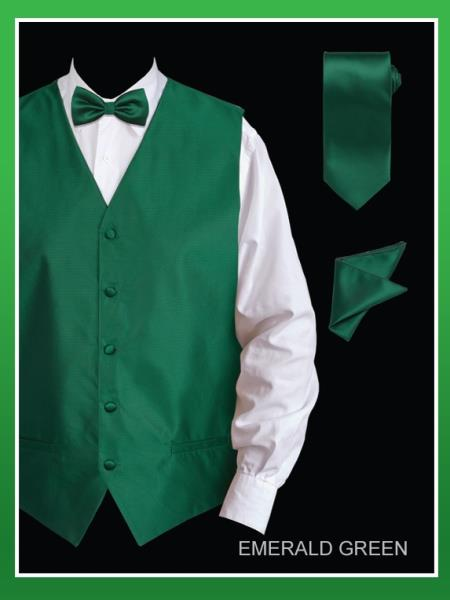 SKU#RGR53 Mens 4 Piece Vest Set (Bow Tie, Neck Tie, Hanky) - Jacquard Emerald Green $65