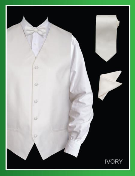 SKU#IVV50 Mens 4 Piece Vest Set (Bow Tie, Neck Tie, Hanky) - Jacquard Ivory