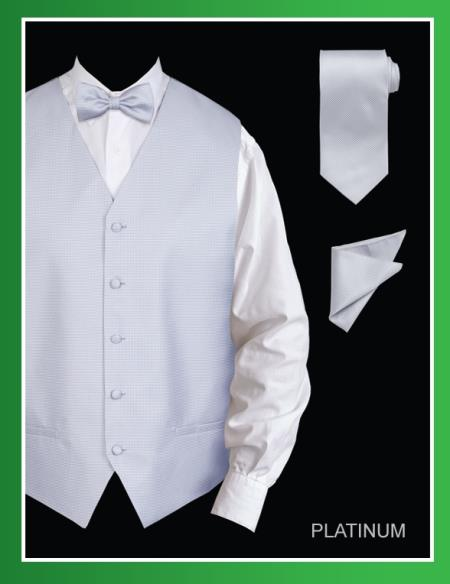 SKU#PLP009 Mens 4 Piece Vest Set (Bow Tie, Neck Tie, Hanky) - Jacquard Platinum $75