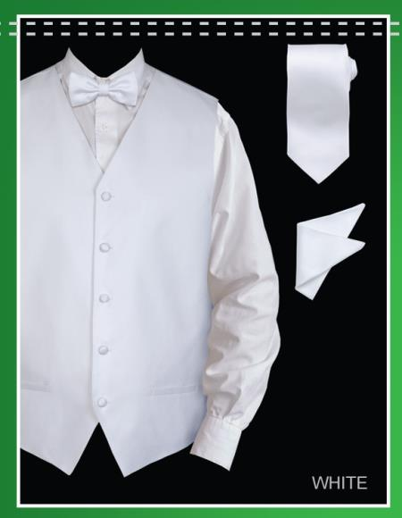 SKU#HKA55 Mens 4 Piece Vest Set (Bow Tie, Neck Tie, Hanky) - Jacquard White