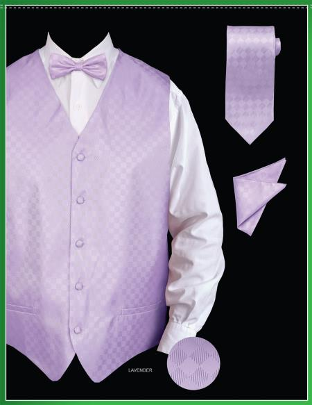 SKU#LVN78 Mens 4 Piece Vest Set (Bow Tie, Neck Tie, Hanky) - Chessboard Checkered Lavender $75