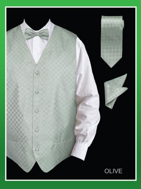 SKU#OLL8 Mens 4 Piece Vest Set (Bow Tie, Neck Tie, Hanky) - Chessboard Checkered Olive $75