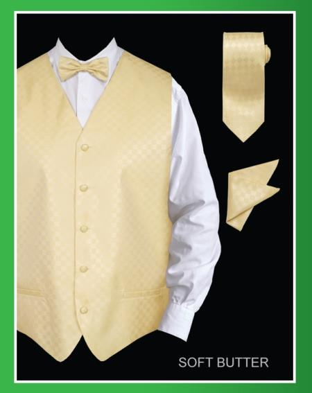 SKU#TTY31 Mens 4 Piece Vest Set (Bow Tie, Neck Tie, Hanky) - Chessboard Checkered Soft Butter $65