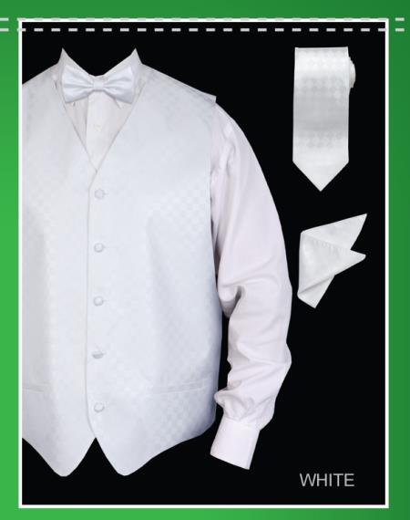 SKU#WHW72 Mens 4 Piece Vest Set (Bow Tie, Neck Tie, Hanky) - Chessboard Checkered White $65