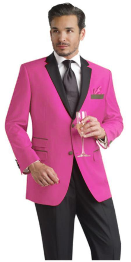 SKU#HMA80 Hot Pink Two Button Notch Party Suit & Tuxedo & Blazer w/ Black Lapel