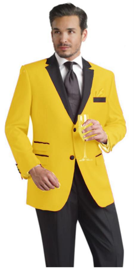 SKU#YLQ22 Yellow Two Button Notch Party Suit & Tuxedo & Blazer w/ Black Lapel $595