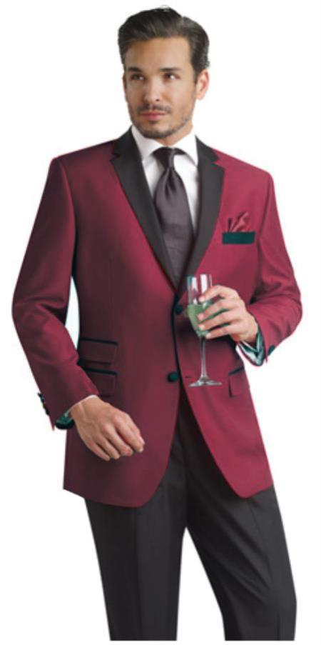 SKU#BUR44 Burgundy ~ Maroon ~ Wine Color Two Button Notch Party Suit & Tuxedo & Blazer w/ Black Lapel $595