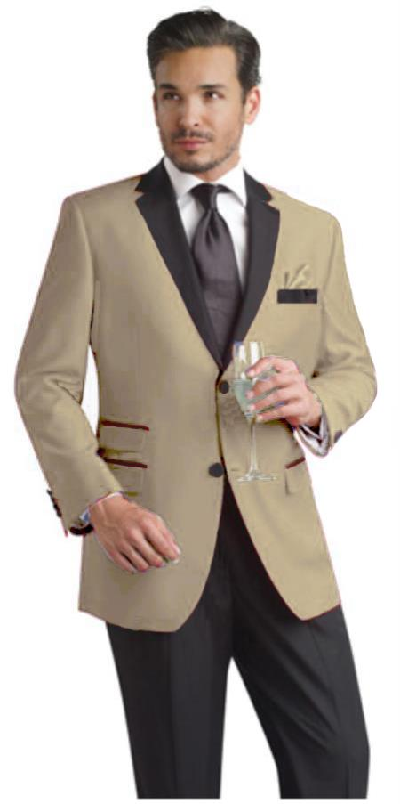 SKU#TUK66 Taupe Two Button Notch Party Suit & Tuxedo & Blazer w/ Black Lapel $595