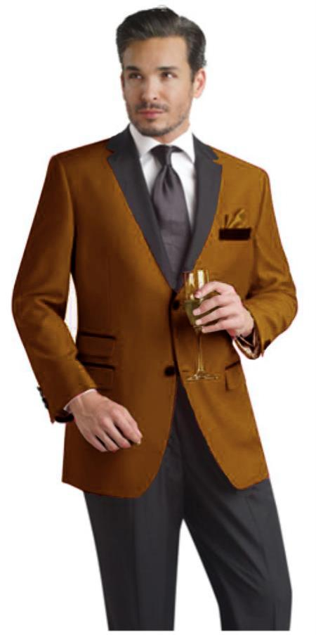 SKU#UYU8 Bronze Two Button Notch Party Suit & Tuxedo & Blazer w/ Black Lapel $595