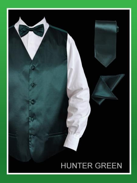 SKU#HUN23 Mens 4 Piece Vest Set (Bow Tie, Neck Tie, Hanky) - Satin Hunter Green $75