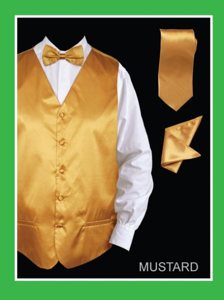 SKU#KJL22 Mens 4 Piece Vest Set (Bow Tie, Neck Tie, Hanky) - Satin Mustard $75