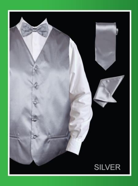 SKU#SSL878 Mens 4 Piece Vest Set (Bow Tie, Neck Tie, Hanky) - Satin Silver $75