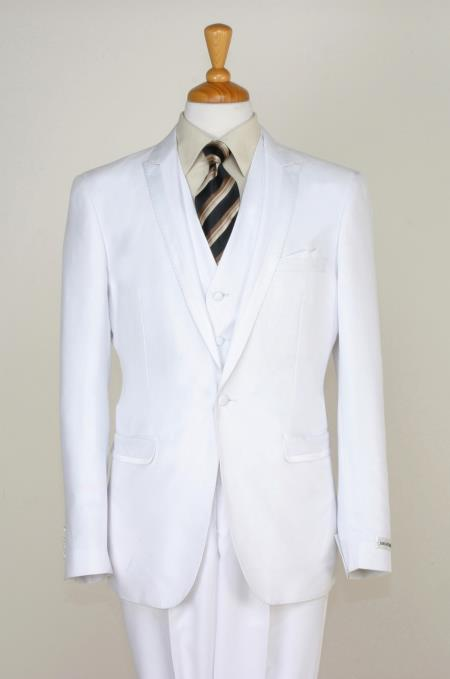 SKU#NMN7 Mens 3 Piece Slim Cut Tuxedo - Peak Lapel with Stitches & Adjustable Waist White $275