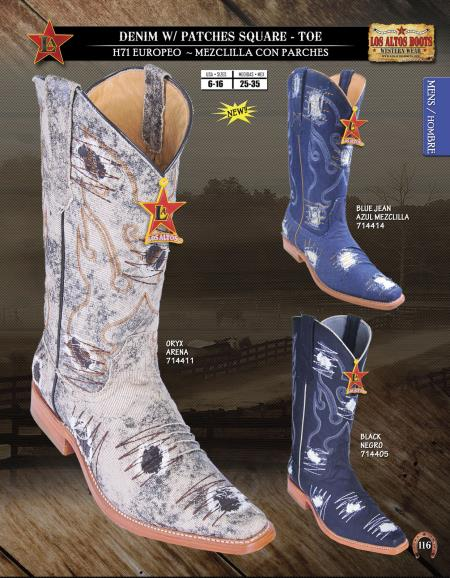 SKU#KKJ92 Los Altos Square-Toe Denim w/ Patches Mens Western Cowboy Boot