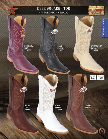 SKU#EWE6 Los Altos Square-Toe Genuine Deer Mens Western Cowboy Boots