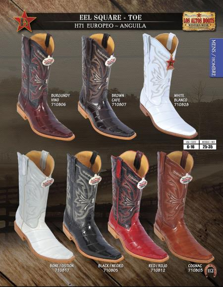 SKU#MSS3 Los Altos Square-Toe Genuine Eel Mens Western Cowboy Boots $199