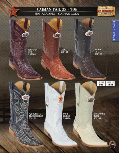 SKU#QQA12 Los Altos XXX 3X Toe Genuine caiman ~ alligator Tail Mens Western Cowboy Boots