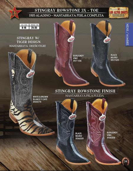SKU#BWG76 Los Altos XXX 3X Toe Genuine Stingray Mens Western Cowboy Boots $312