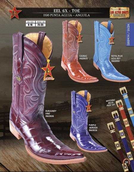 SKU#RDJ42 Los Altos 6X Toe Genuine Eel Mens Western Cowboy Boots