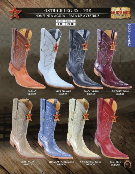 SKU#KGM74 Los Altos 6X Toe Genuine Ostrich Leg Mens Western Cowboy Boots $239