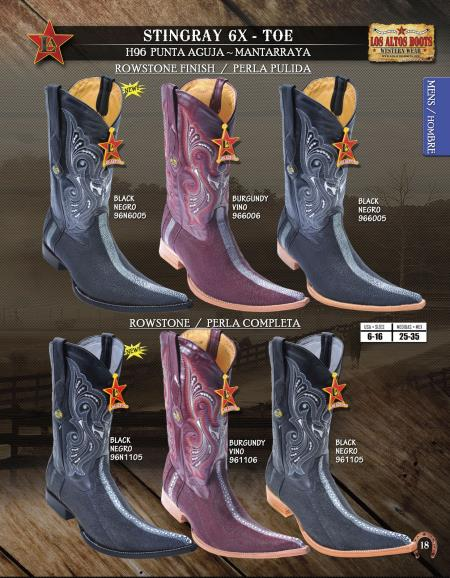 SKU#YMF74 Los Altos 6X Toe Genuine Stingray Mens Western Cowboy Boots