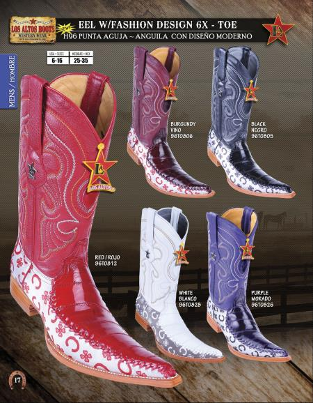 SKU#PHR45 Los Altos 6X Toe Genuine Eel Mens Western Cowboy Boots