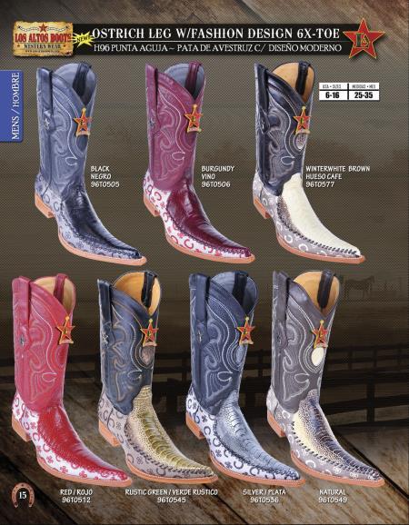 SKU#JGP49 Los Altos 6X Toe Genuine Ostrich Leg Mens Western Cowboy Boots $226