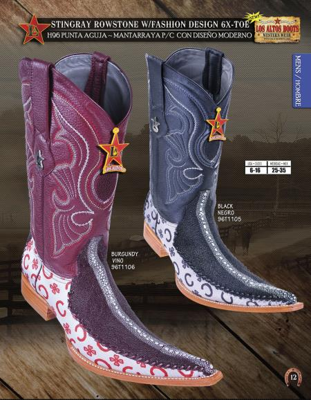 SKU#LSX22 Los Altos 6X Toe Genuine Stingray Mens Western Cowboy Boots