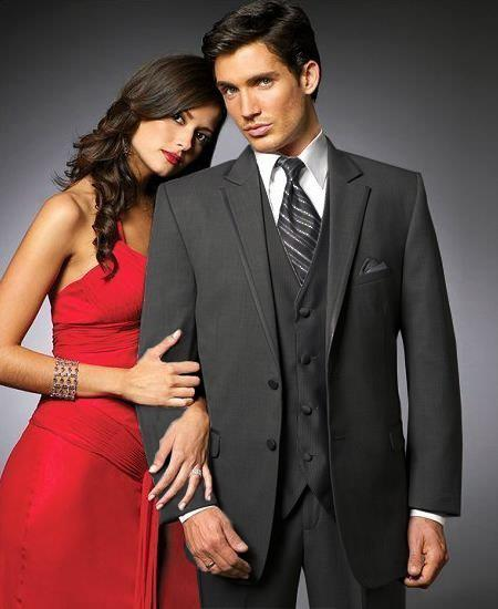 SKU#YS32 2 Btn Suit/Colored Tuxedo Satin Trim outlines a Notch Lapel Matching Trousers Black $595
