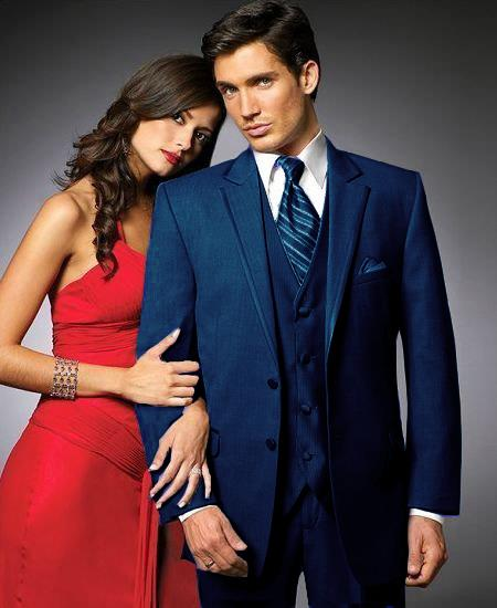 SKU#NH6 2 Btn Suit/Colored Tuxedo Satin Trim outlines a Notch Lapel Matching Trousers Navy Blue $595