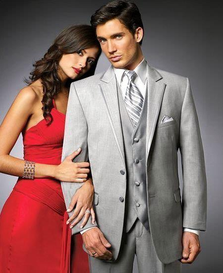 SKU#TR4 2 Btn Suit/Stage Party Tuxedo Satin Trim outlines a Notch Lapel Matching Trousers Silver-Ash-Gray $595