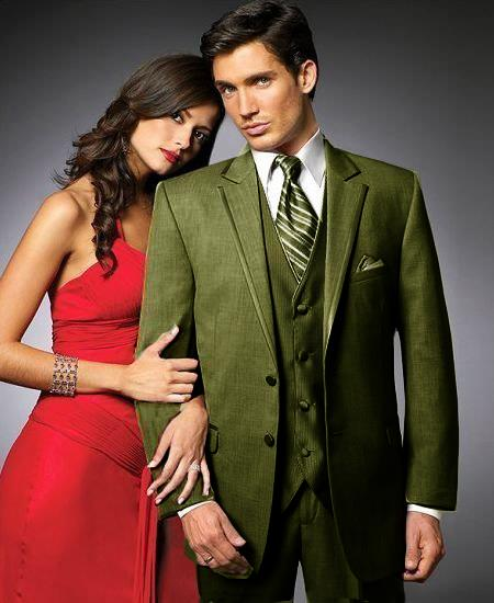 SKU#UHK9 2 Btn Suit/Colored Tuxedo Satin Trim outlines a Notch Lapel Matching Trousers Olive $595