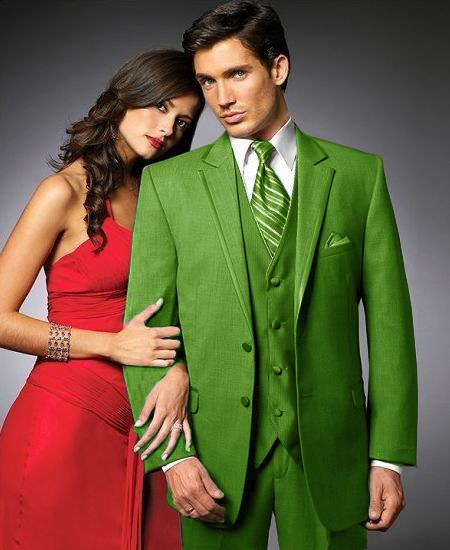 SKU#SYM3 2 Btn Suit/Colored Tuxedo Satin Trim outlines a Notch Lapel Matching Trousers Lime Green $595