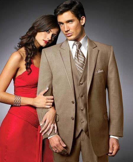 SKU#JKS2 2 Btn Suit/Colored Tuxedo Satin Trim outlines a Notch Lapel Matching Trousers Tan $595