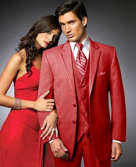 SKU#RED5 2 Btn Suit/Stage Party Tuxedo Satin Trim outlines a Notch Lapel Matching Trousers Red 7 days delivery