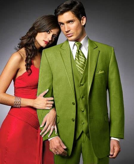 SKU#PPG4 2 Btn Suit/Colored Tuxedo Satin Trim outlines a Notch Lapel Matching Trousers Apple Green $595