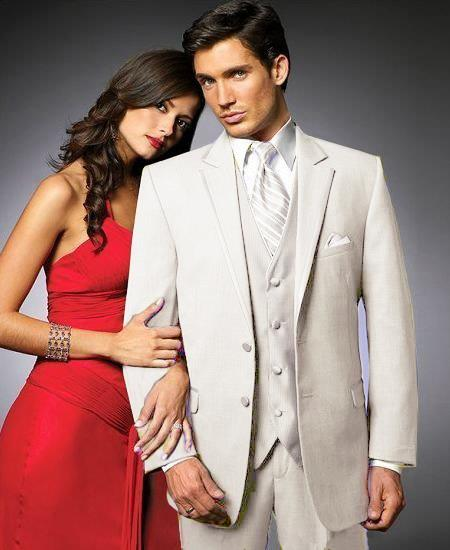 New Vintage Tuxedos, Tailcoats, Morning Suits, Dinner Jackets 2 Btn SuitColored Tuxedo Satin Trim outlines a Notch Lapel Matching Trousers Off white $595.00 AT vintagedancer.com
