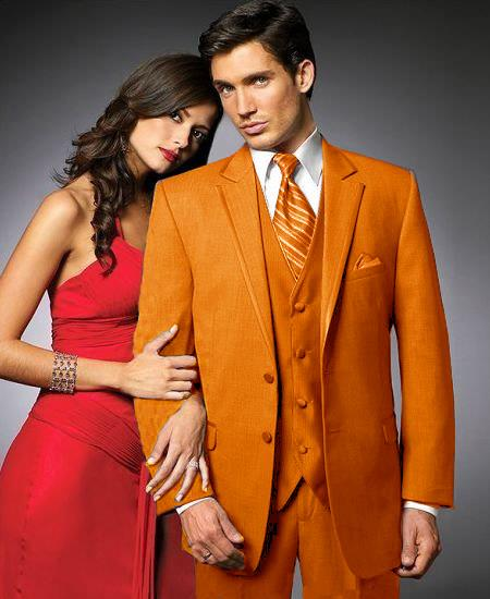 SKU#UHM86 2 Btn Suit/Colored Tuxedo Satin Trim outlines a Notch Lapel Matching Trousers Orange $595