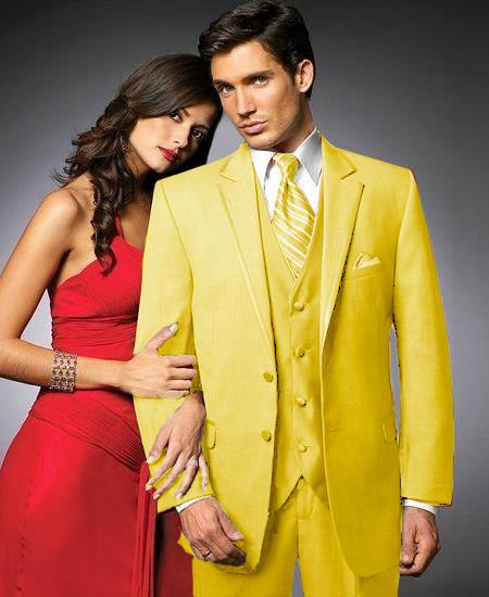 SKU#YUB33 2 Btn Suit/Colored Tuxedo Satin Trim outlines a Notch Lapel Matching Trousers Yellow $595
