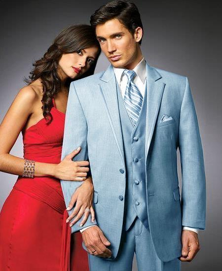 SKU#SK44 2 Btn Suit/Stage Party Tuxedo Satin Trim outlines a Notch Lapel Matching Trousers Light Blue ~ Sky Blue 7 days delivery