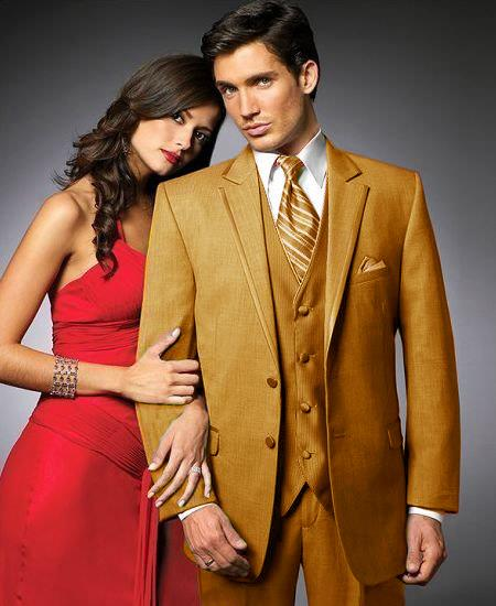 SKU#GLD5 2 Btn Suit/Stage Party Tuxedo Satin Trim outlines a Notch Lapel Matching Trousers Gold-Camel ~ Khaki $595