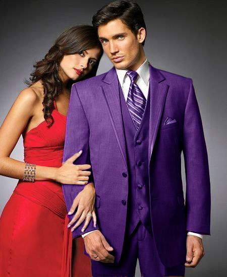 SKU#PEG43 2 Btn Suit/Colored Tuxedo Satin Trim outlines a Notch Lapel Matching Trousers Purple $595